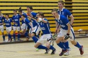 Hockey, 01-02-2015, Seizoen 2014-2015, Sporthallen Zuid Amsterdam, Landskampioenschappen ABC-jeugd Zaalhockey 2015, Jongens B Halve Finale Kampong - Nijmegen