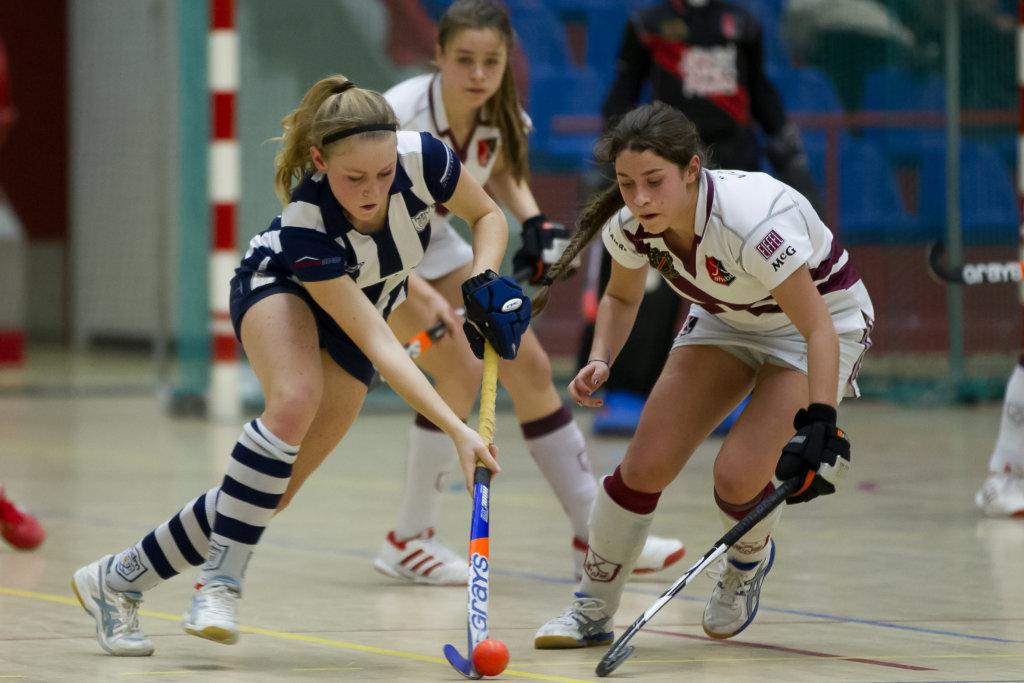 Hockey, 01-02-2015, Seizoen 2014-2015, Sporthallen Zuid Amsterdam, Landskampioenschappen ABC-jeugd Zaalhockey 2015, Meisjes A Amsterdam - HDM