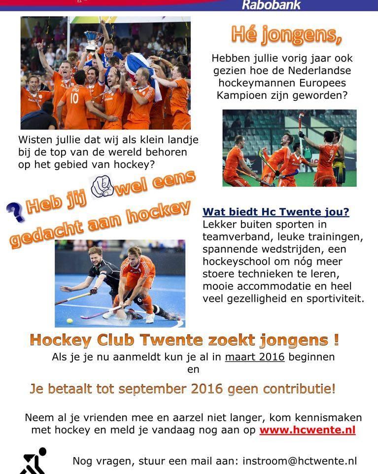 HC Twente zoekt jongens