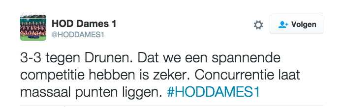 Tweet HOD Dames 1