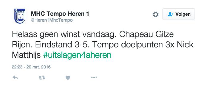 Tweet Tempo Heren 1