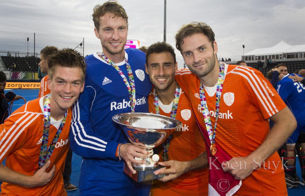 LONDEN - Nederland wint de finale van Duitsland (6-1) bij het Europees Kampioenschap hockey in Londen. Thierry Brinkman, Jaap Stockman, Glenn Schuurman en Rogier Hofman. COPYRIGHT KOEN SUYK