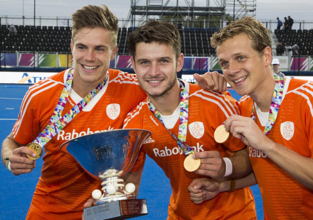 LONDEN - Nederland wint de finale van Duitsland (6-1) bij het Europees Kampioenschap hockey in Londen. Sander de Wijn, Robbert Kemperman, Constantijn Jonker. WSP COPYRIGHT KOEN SUYK