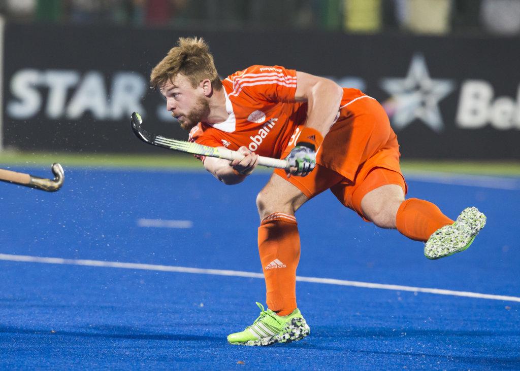 RAIPUR (India) . Mink Van Der Weerden (Ned) tijdens de wedstrijd om de derde plaats tussen de mannen van Nederland en India in de finaleronde van het Hockey World League . COPYRIGHT KOEN SUYK