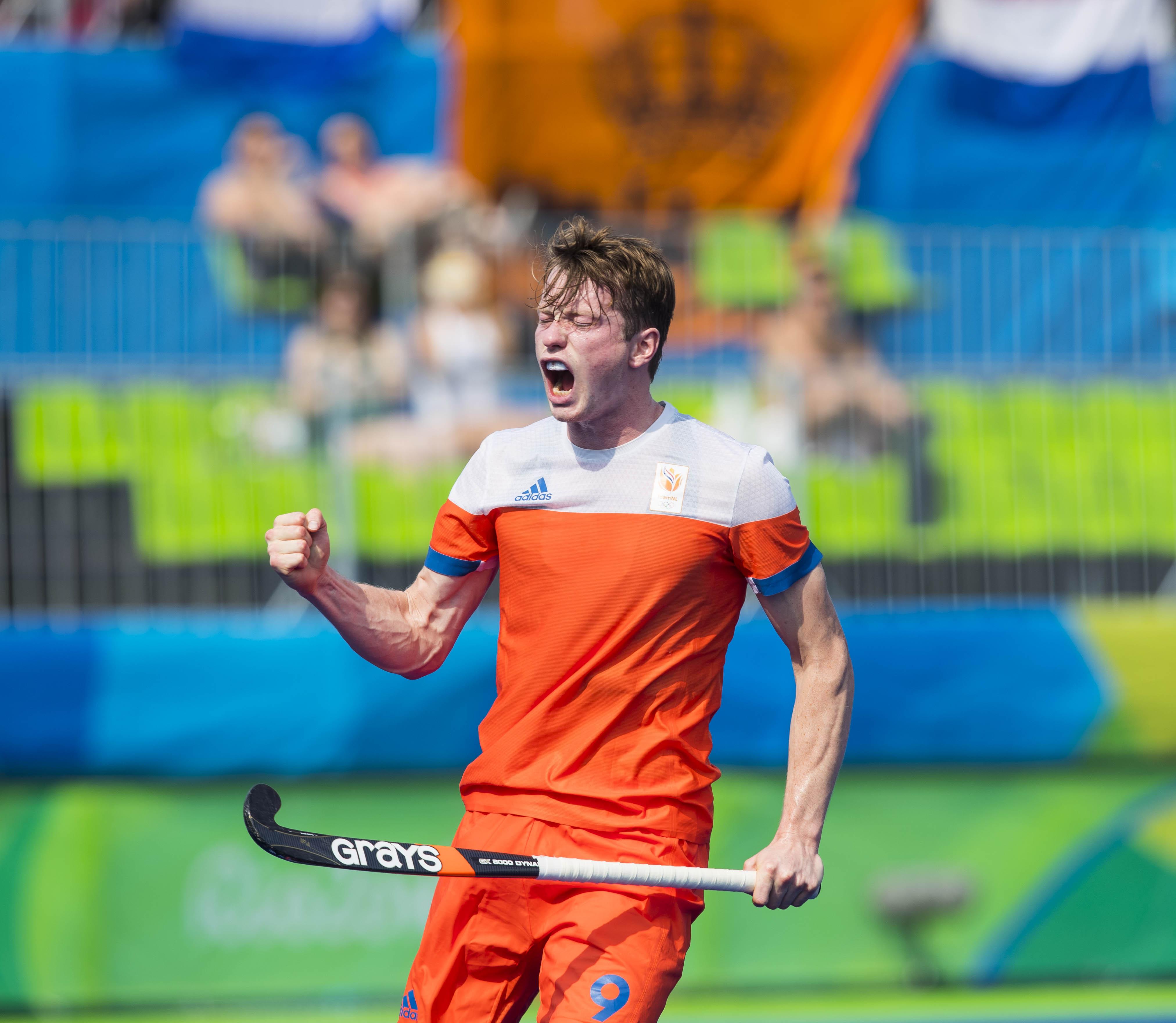 RIO DE JANEIRO (Brazili') - Seve van Ass (Ned) heeft de stand op 1-0 gebracht tijdens de poulewedstrijd hockey heren Nederland-Canada , tijdens de Olympische Spelen. COPYRIGHT KOEN SUYK