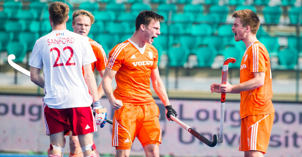 LUCKNOW (India) - Junior World Cup hockey U21 for men . ENGLAND v NETHERLANDS (7/8 place) (2-6) . Bram van Groesen(NED) scored. right Thierry Brinkman (NED) . COPYRIGHT KOEN SUYK