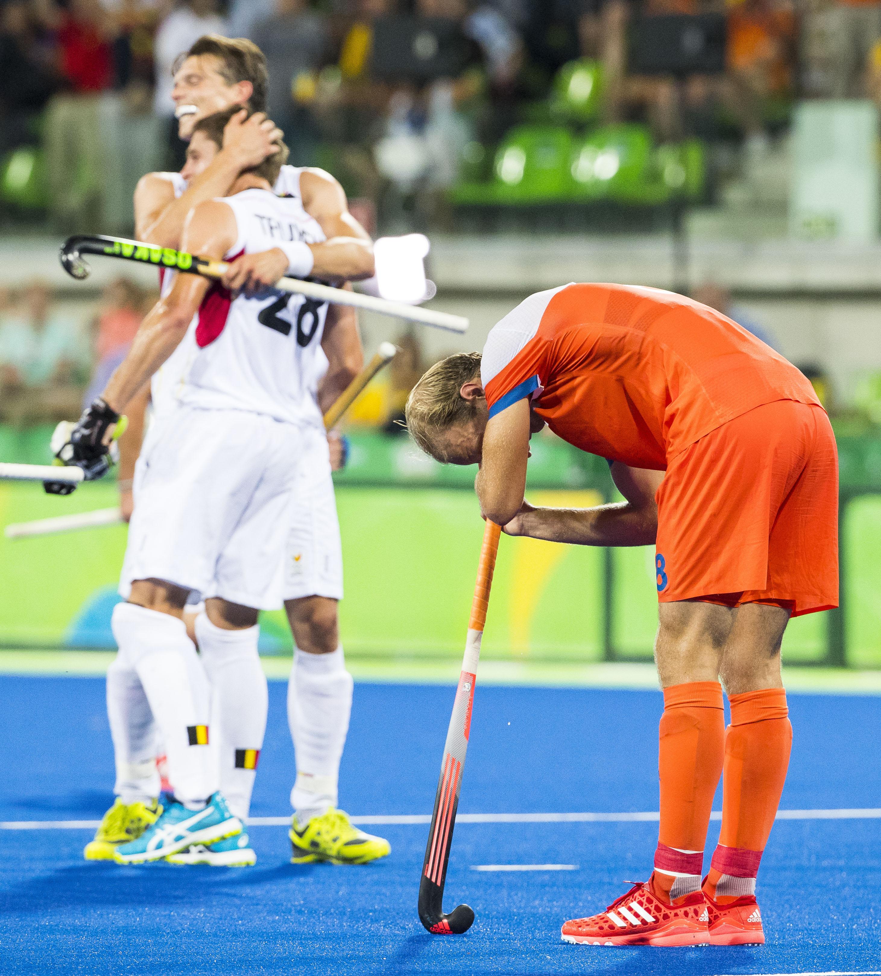RIO DE JANEIRO - Teleurstelling bij Billy Bakker na de verloren halve finale hockey heren Belgie-Nederland (3-1), tijdens de Olympische Spelen. COPYRIGHT KOEN SUYK