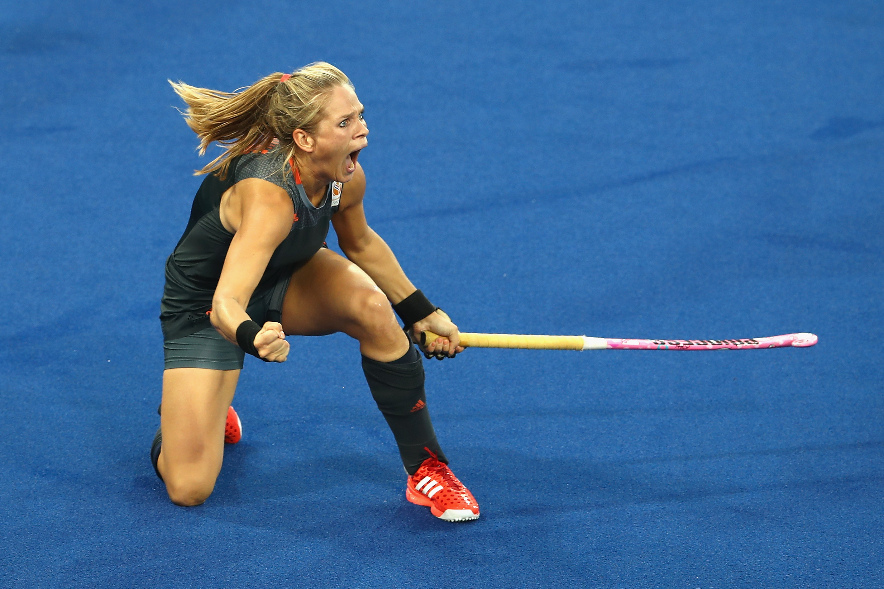 RIO DE JANEIRO, BRAZIL - AUGUST 19: Kitty van Male of Netherlands celebrates scoring a goal during the Women's Gold Medal Match against the Netherlands on Day 14 of the Rio 2016 Olympic Games at the Olympic Hockey Centre on August 19, 2016 in Rio de Janeiro, Brazil. (Photo by Mark Kolbe/Getty Images)