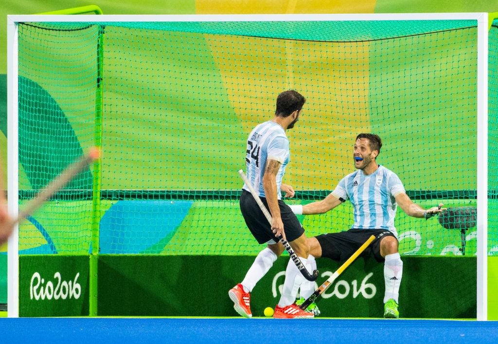 RIO DE JANEIRO - Olympic Final hockey men, Belgium-Argentina (2-4) . Goal Argentina. left Augustin Mazilli (Arg) COPYRIGHT KOEN SUYK