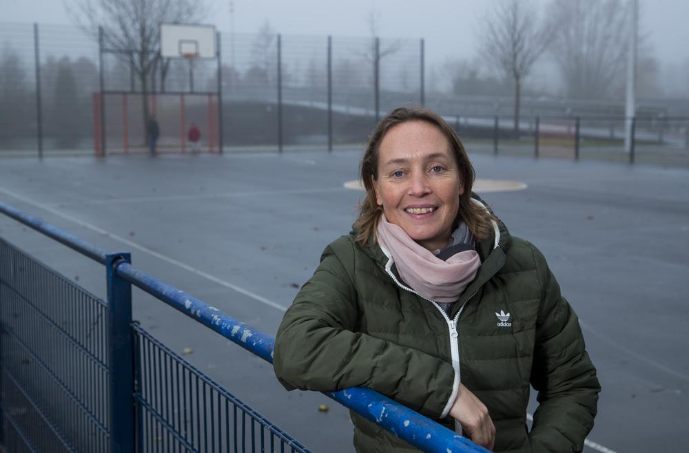 Carole Thate bij een Johan Cruyff Court in Amstersdam. (c) Koen Suyk
