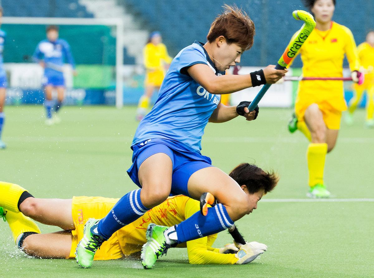 China wint met 0-3 in de halve finale van de HWL 3 in Brussel en plaatst zich voor de finale. Foto: Koen Suyk
