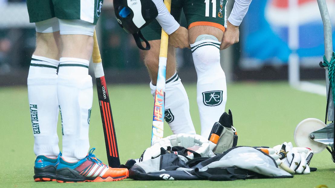 UTRECHT - hockey - Kniebeschermer voor Jeroen hertzberger van R'dam tijdens de hoofdklasse hockeywedstrijde tussen de mannen van Kampong en Rotterdam (1-2). COPYRIGHT KOEN SUYK