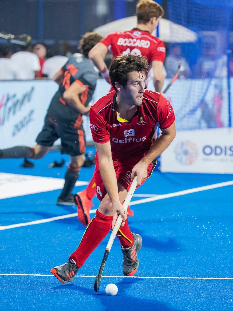 BHUBANESWAR, INDIA - Arthur van Doren (Belgie) tijdens de finale tussen België en Nederland bij het WK Hockey heren in het Kalinga Stadion. COPYRIGHT KOEN SUYK